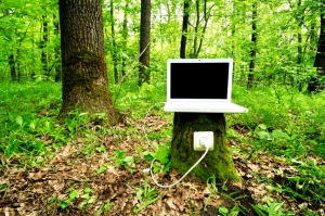 Laptop on stump is charging with help of nature